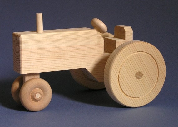 Large Wooden Toy Tractor by Aero1Toys on Etsy
