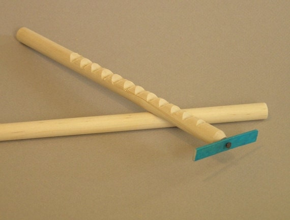 Hooey Stick with BLUE spinner.  Also called a whimydiddle or gee-haw stick.  A natural wood toy.