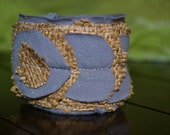 Grey Cuff Bracelet with Burlap.  Fun and Unique to Have.  Size - Women's