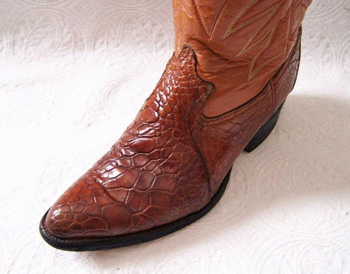 Men S Rare Vintage Real Sea Turtle Cowboy Western Boots Us