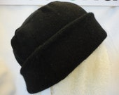 EncoreCashmereHat - Luxurious Black Hat from Repurposed Cashmere Sweaters - 24""