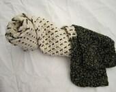 Ladies Chenile Cream Crochet/Woven Scarf