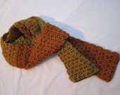 Womens Crocheted Scarf Fall- Changing Colors with Woven Copper Sparkle