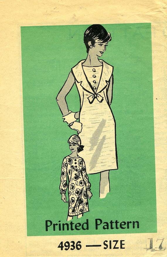 Mail Order 4936: Cute 60s Shift Dress Pattern. Bust 37. Junior Miss size 17. UNCUT.