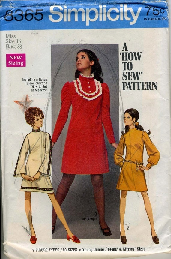 Simplicity 8365: Dress with stand up collar. Bust 38. Size 16. UNCUT.