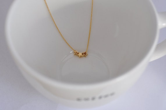Wish Upon A Star--Three Tiny Stars on a Gold Filled Chain, Simple Gold Necklace