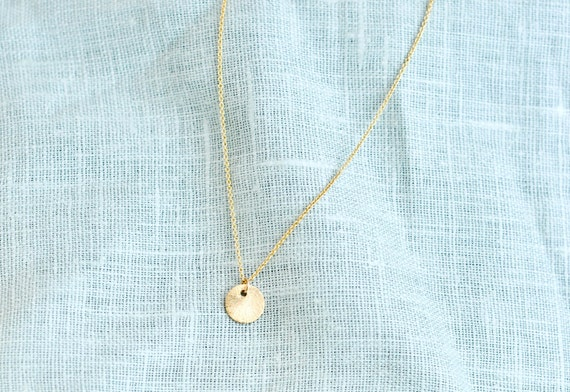 Sol--Sweet Vermeil Circle Disc on a Gold Filled Chain, Simple Gold Necklace