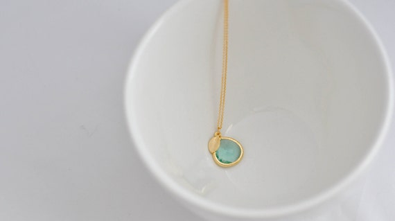 Ocean Breeze--Ernite Pendant with a Tiny Gold Leaf, Simple Gold Necklace