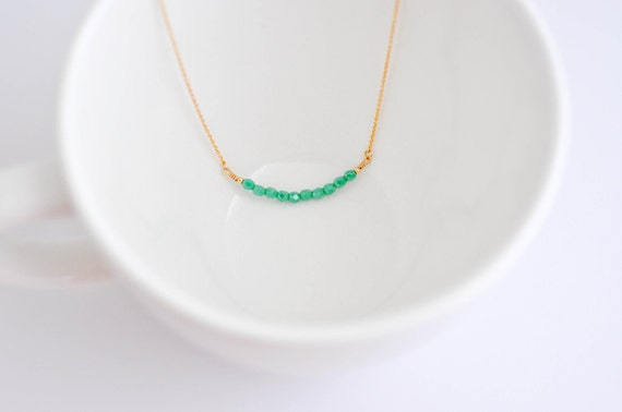 Bay Breeze--Turquoise Czech Beads on a Gold Filled Chain, Bohemian, Simple Gold Necklace, Aqua Necklace, Mother's Day Gifts, Minimalist