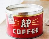estate sale soy candle : 'coffee break' in vintage coffee can ooak