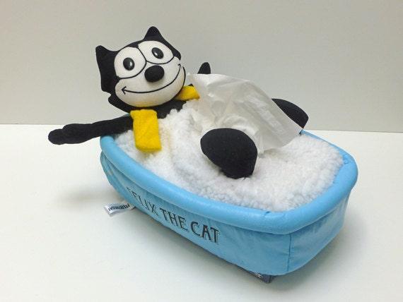 Cute Light Blue Vintage Felix the Cat in a Bathtub Tissue Box Cover