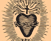 Sacred Heart of Jesus Vector  - Digital Vintage - Royalty-Free for Personal or Commercial Use