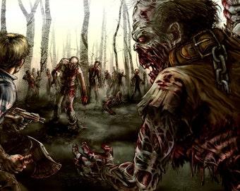 Zombies, Man - zombie concept art fine art print  - LARGE