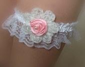 Pink Rose Wedding Garter with White Flower, White Lace Stretch Wedding Garter with Big Ivory flower N Pink Rose ,  Hand made Bridal Garter