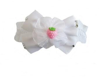 White Strawberry Baby Headband / Child Headband