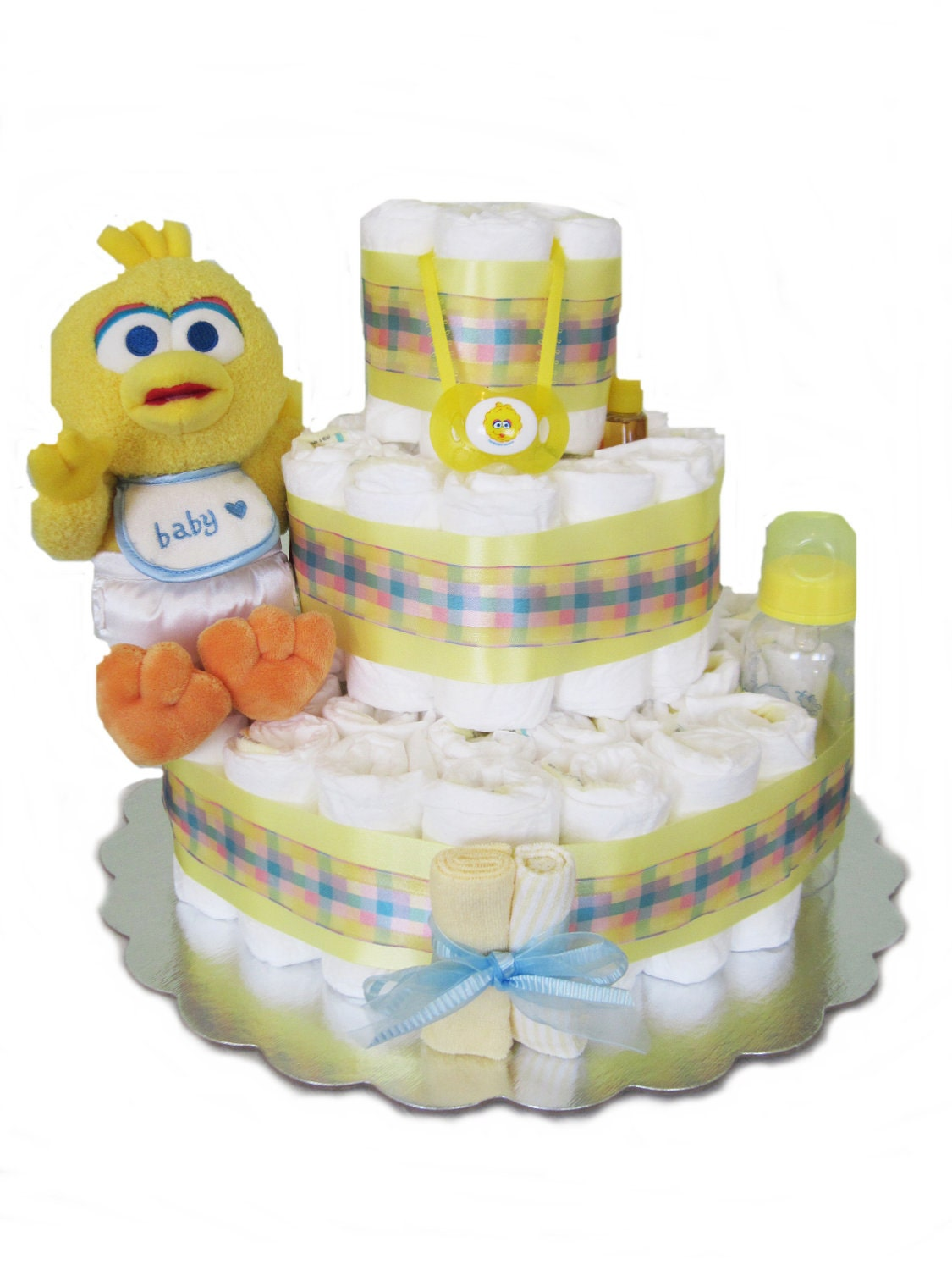 sesame street baby big bird diaper cake 3 tier baby shower baby