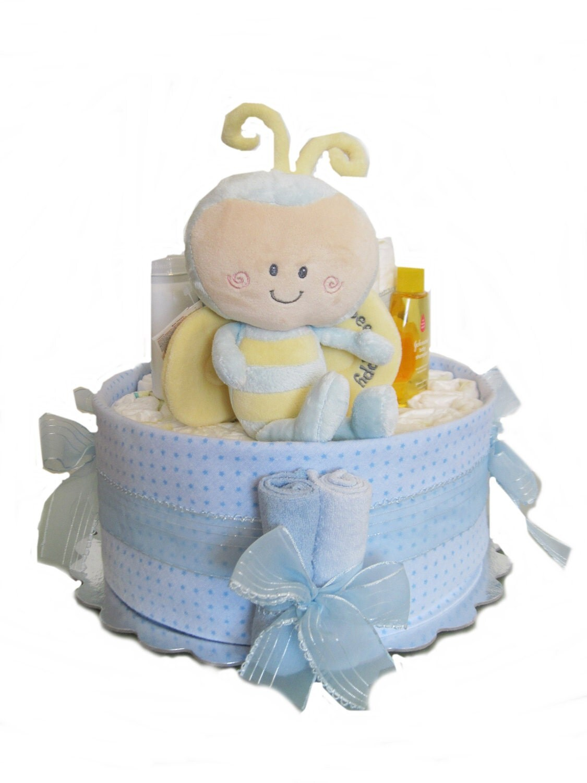 Baby Boy Gift Cake : Baby boy personalibees diaper cake tier shower gift