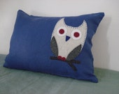 Blue linen pillow with hand appliqued white owl