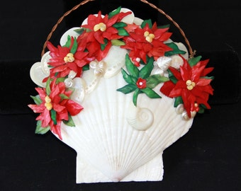 Festive Hanging Poinsettia SEA SHELL Christmas BASKET with Twisted Copper Handle