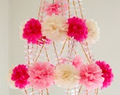 Unique Pom Pom Paper Chandelier Mobile Pink and White