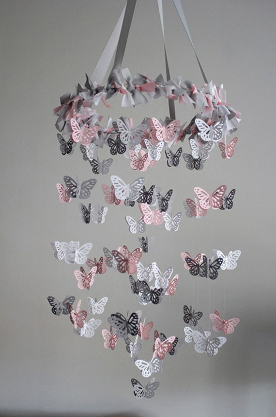 Items similar to butterfly nursery mobile pink grey for Baby mobile pink and grey