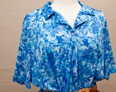 SALE / blue hawaiian floral shirt dress / extra large / plus size