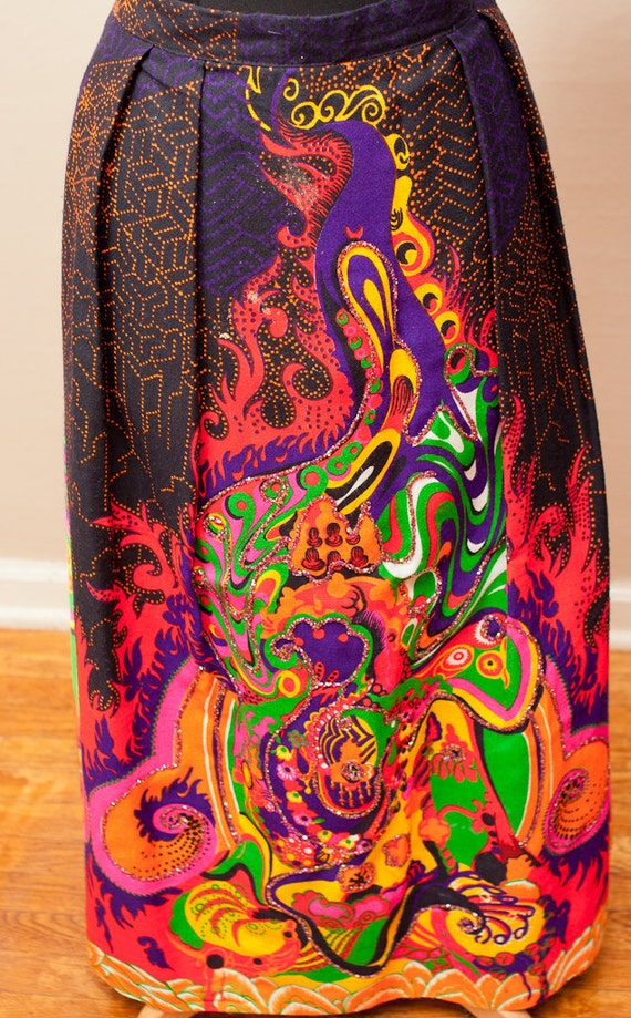 SALE / psychedelic jeweled maxi skirt / extra large