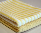 Yellow and White Striped Set of 2 Hand Towels, Micro Fiber, Kitchen, FREE shipping, Decoration, Gifts, easter, Mothers day, spring