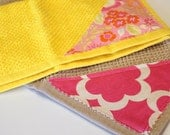 FREE SHIPPING, Moda design set of 2 wash cloths, Terry Cloth, light yellow, Wash Cloth, kitchen, Gift, Bathroom, Shower Gifts