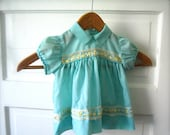 Vintage Baby Girl Dress in Teal
