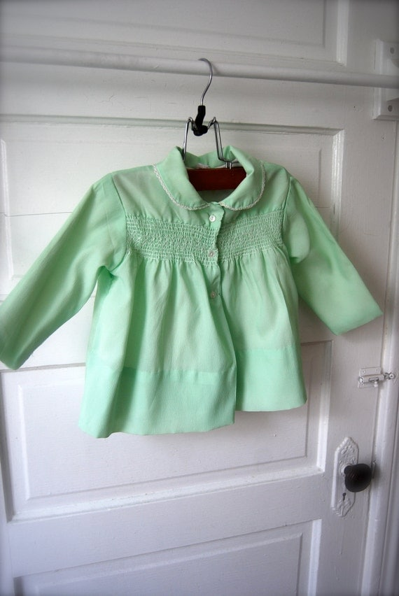 Mint green vintage baby coat