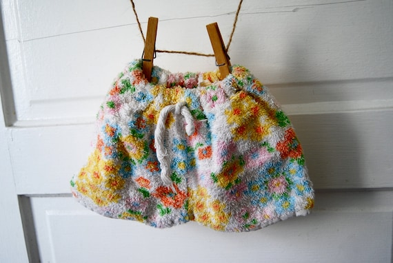 Vintage Terry Cloth Shorts in Floral Pastel