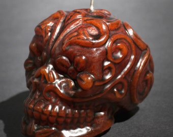 """Day of the Dead Skull Candle - """"Ivy"""""""