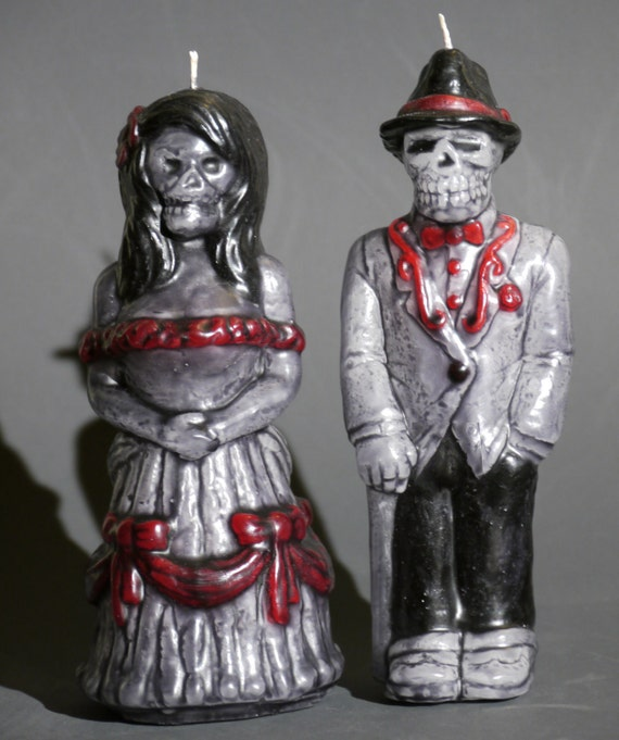 """Day of the Dead Wedding Candles - """"Jorge y Maria"""""""