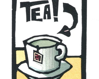 Original Linocut of Cup of Tea by Ken Swanson (1029)
