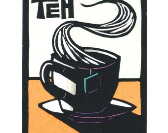 Original Linocut of Cup of Tea by Ken Swanson (0820)