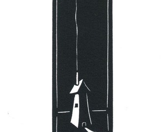 Original Linocut of Small House with Chimney and Smoke By Ken Swanson (0823)