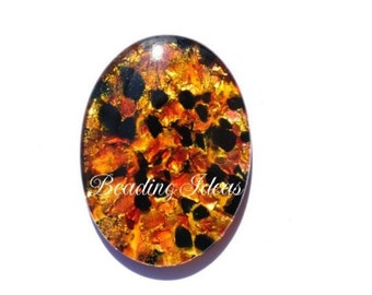 Vintage glass cabochon 30x22 mm 1 pcs (090184)