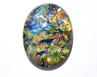 Vintage glass cabochon 40x30 mm 1 pcs (090185)