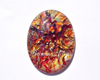 Vintage glass cabochon 40x30 mm 1 pcs (090188)