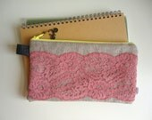 Pencil Case with  Lace and Bike Zipper Pull