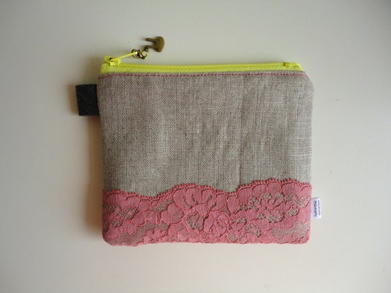 Divided Coin Purse with Lace and Bunny Zipper Pull
