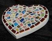 Colorful Vintage China Mosaic Heart