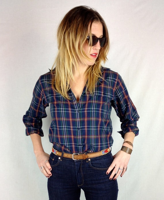 Cotton plaid shirt with pocket