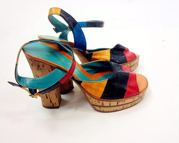 Color blocked eel skin cork platforms