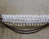 Three Stranded Swarovski Crystal and Gunmetal Chain Bracelet