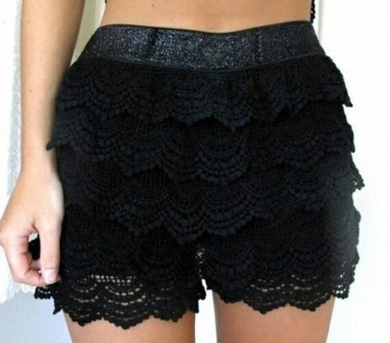 Black Mini Shorts Crochet Lace Glitter Elastic Waistband Floral Bodycon XS Low Rise Festival Goth Kawaii Ditsy Hippie Grunge Boho