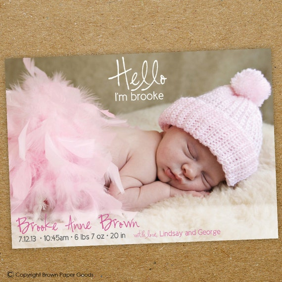 baby girl birth announcement  custom photo card  hello