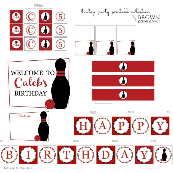 Bowling Birthday Party Printable Collection. Printable Bowling Party