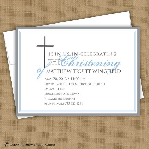 Baptism invitation. Christening announcement. boy or girl. First Communion Invitation